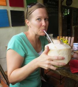 Me drinking some fresh coconut water ... way better than a picture of me crying because of culture shock ;)